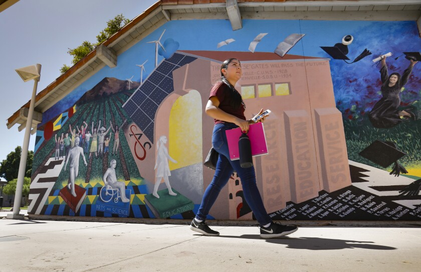 Leslie Bargas, of El Centro, a psychology major at the San Diego State University Imperial Valley Campus in Calexico, walks past a mural on the side of a building on the campus depicting the evolution of education in the Imperial Valley.