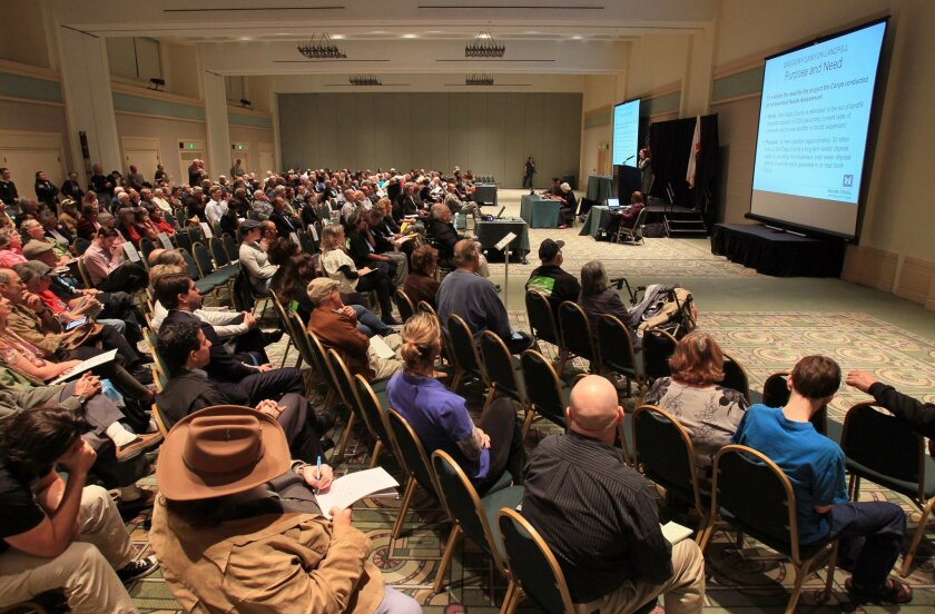 Hundreds attended a meeting in Escondido in 2013 to comment on plans to construct the Gregory Canyon landfill.