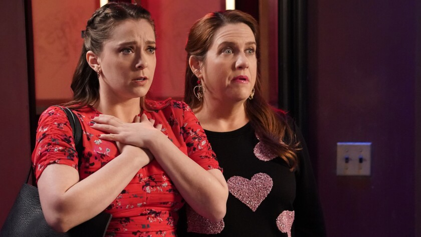"Rachel Bloom, left, and Donna Lynne Champlin in ""Crazy Ex-Girlfriend"" on CW."