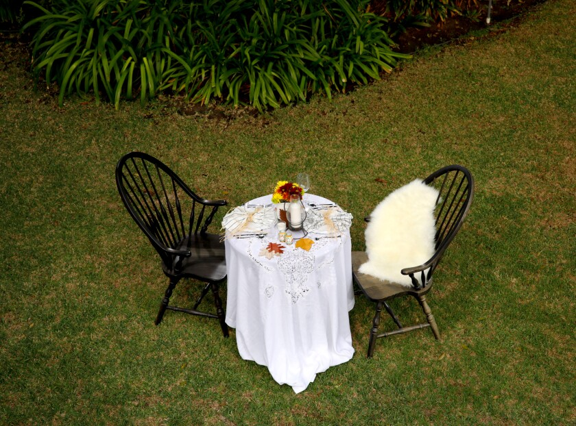 An outdoor table setting for two.