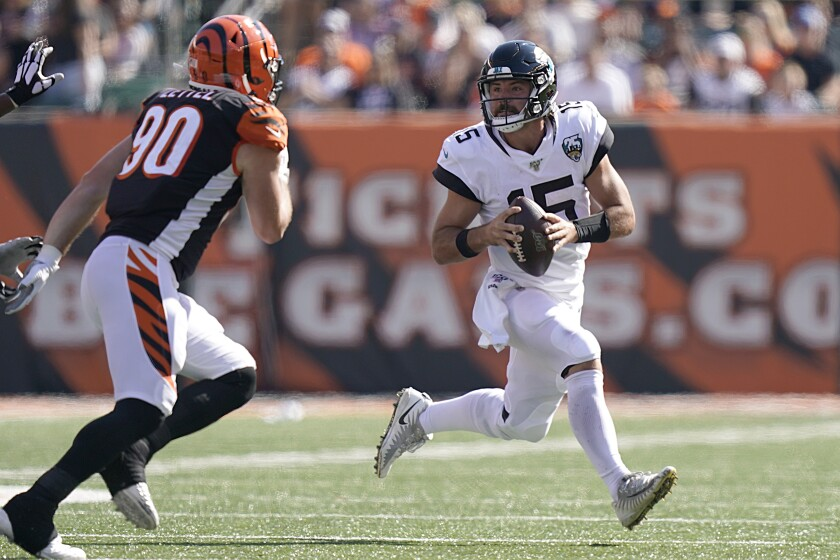 Jacksonville Jaguars quarterback Gardner Minshew looks to pass during Sunday's win over the Cincinnati Bengals.