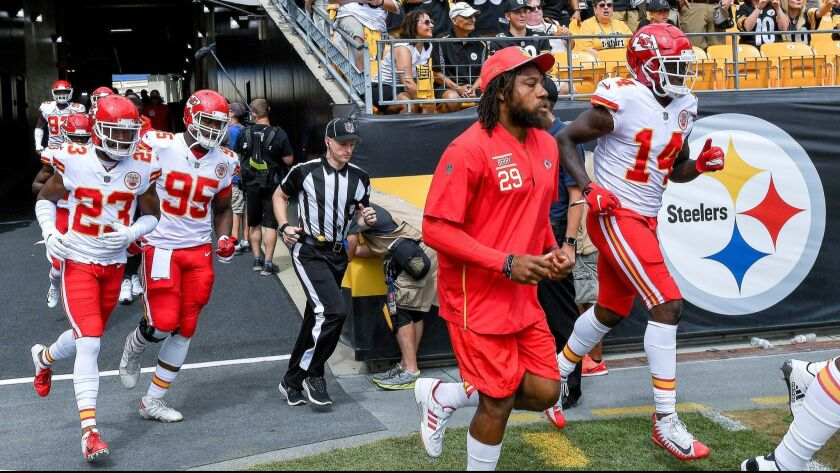 Kansas City Chiefs safety Eric Berry runs onto the field before a game against the Pittsburgh Steelers on Sept. 16.