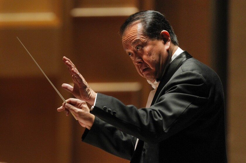 """San Diego Symphony conductor laureate Jahja Ling (seen here during a May 2017 concert) on Sunday """"led the orchestra with inexorable momentum, a wild musical roller coaster ride with some splendid work from the horns and clarinets."""""""