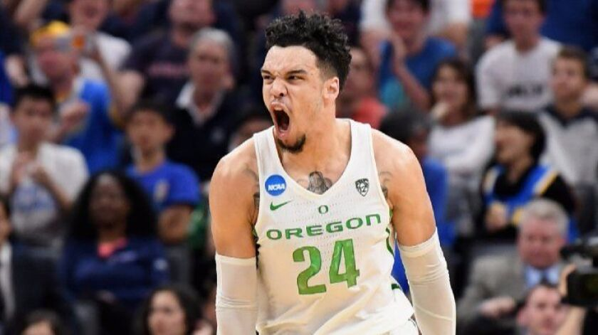 Oregon forward Dillon Brooks gets fired up during an NCAA tournament game against Rhode Island on March 19.