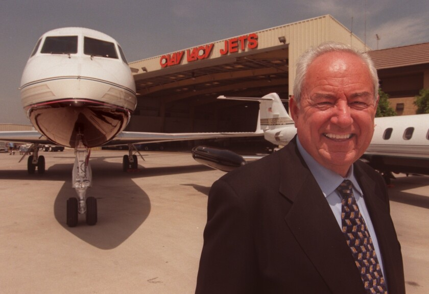 Clay Lacy, owner of Clay Lacy Aviation, at Van Nuys Airport in 1999.