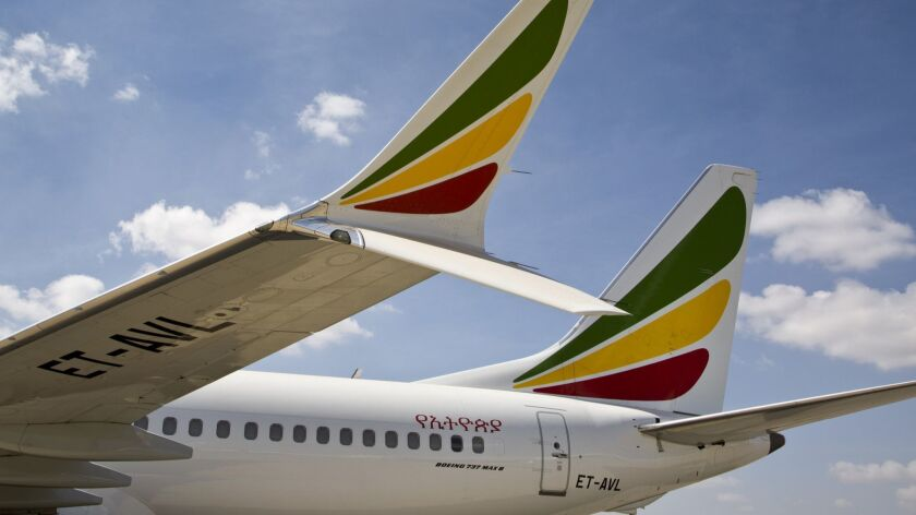 The winglet of an Ethiopian Airlines Boeing 737 Max 8 is seen as it sits grounded at Bole Internatio