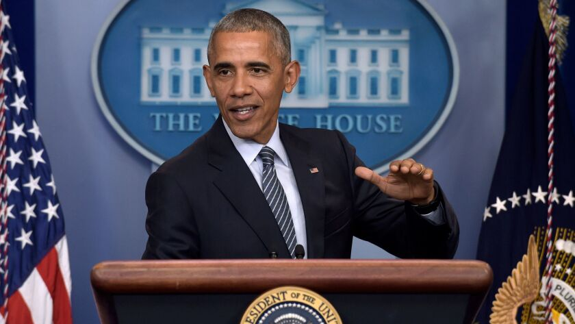 In this Nov. 14 file photo, President Obama speaks during a news conference in the Brady press briefing room at the White House in Washington, D.C.