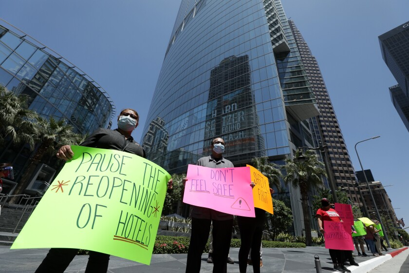 Hotel workers protest in downtown L.A.
