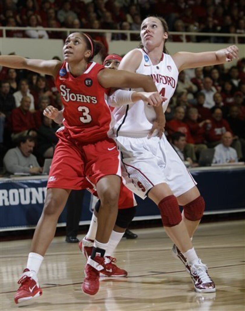 Stanford forward Kayla Pedersen, right, and St. John's forward Da'Shena Stevens (3) wait for rebound in the first half of a second-round NCAA women's college basketball tournament game in Stanford, Calif., Monday, March 21, 2011. (AP Photo/Paul Sakuma)