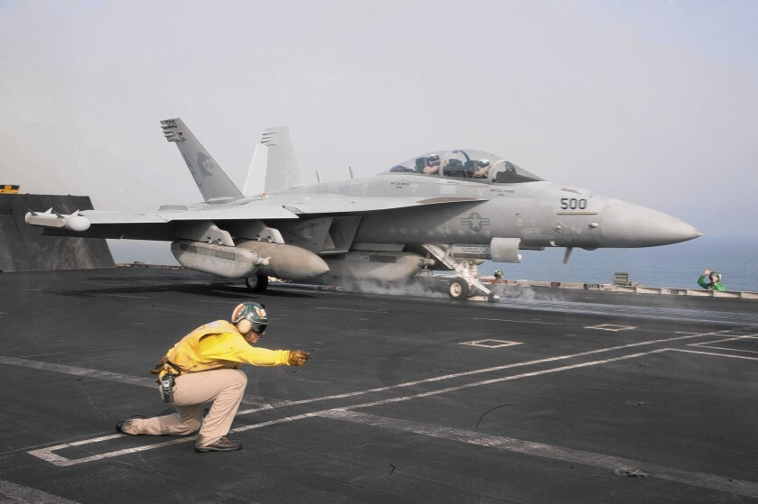 One of the biggest successes of electronic warfare was when the U.S. Navy used EA-18 Growler jets in 2011 to jam Libyan dictator Moammar Kadafi's ground radar, enabling NATO fighters and bombers to strike tanks, communication depots and other targets with complete freedom. Above, a Growler prepares for takeoff from the aircraft carrier Harry S. Truman in the Gulf of Oman.
