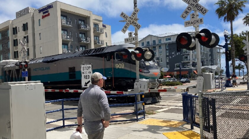 Beginning in July, trains will no longer sound their horns at crossings such as this one at Mission Avenue in Oceanside.