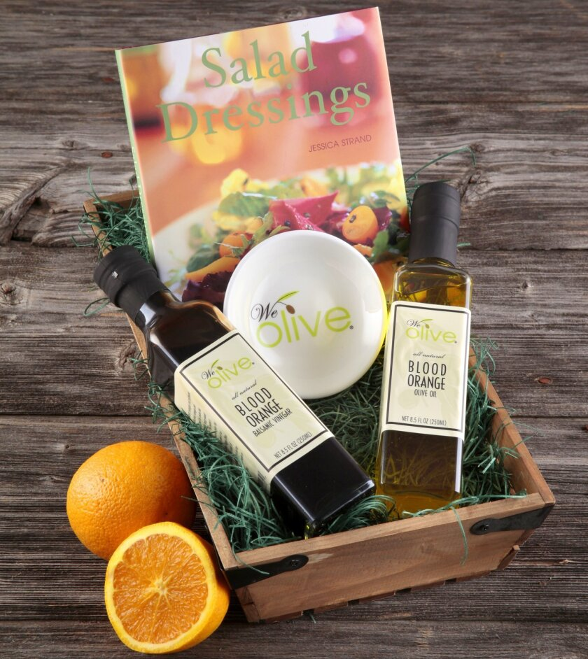 The staff at We Olive in La Jolla is happy to help shoppers create the perfect gift basket for family, friends, clients and co-workers.