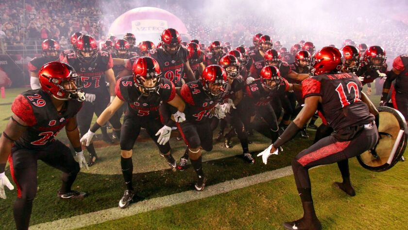 Aztecs players get pumped up before playing a Mountain West game against San Jose State last season at Qualcomm Stadium.
