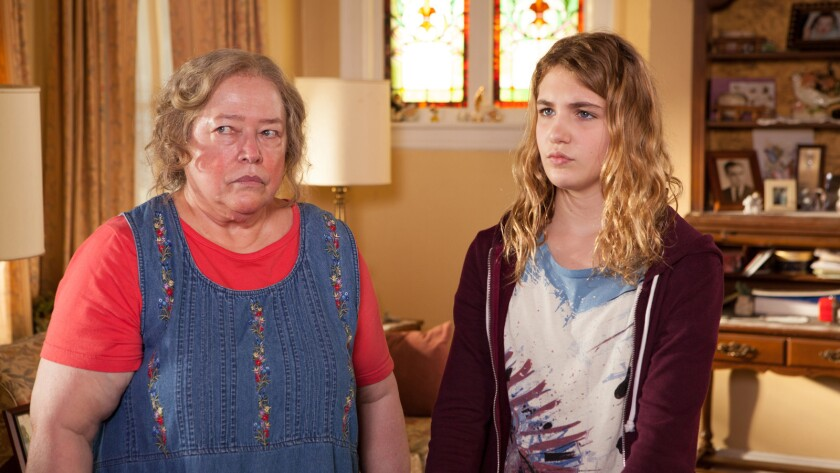 """Kathy Bates, left, and Sophie Nélisse in the movie """"The Great Gilly Hopkins."""""""