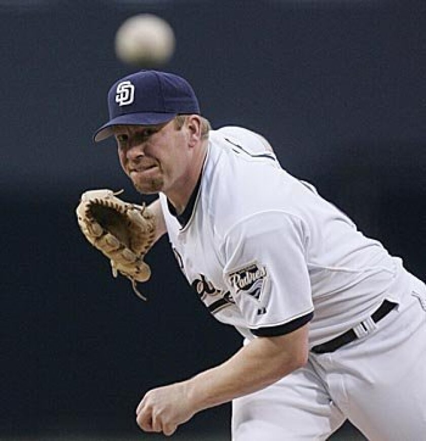 Padres pitcher Randy Wolf, who is 2-1 in six starts this season, will face the Braves in Atlanta today. Three times Wolf has pitched six innings and allowed two runs or fewer, but didn't pick up a win. Sean M. Haffey/Union-Tribune