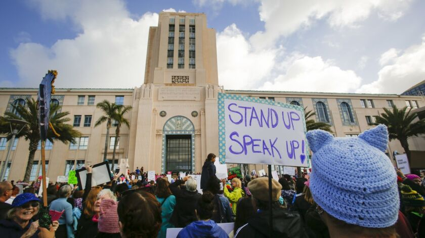 SAN DIEGO, CA: JANUARY 21, 2017 | A rally was held at the San Diego County Administration Center w
