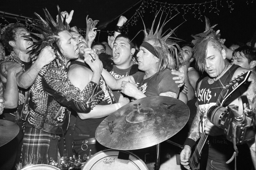 """""""Los Punks: We Are All We Have"""" is an intimate documentary about the teens and young adults who find meaning in the thriving punk rock scene in the backyards of South-Central and East Los Angeles. Above, the Casualties perform a backyard show in South-Central Los Angeles."""