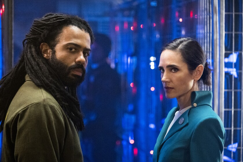 """Daveed Diggs and Jennifer Connelly represent opposite ends of the train in TNT's """"Snowpiercer."""" on TNT."""