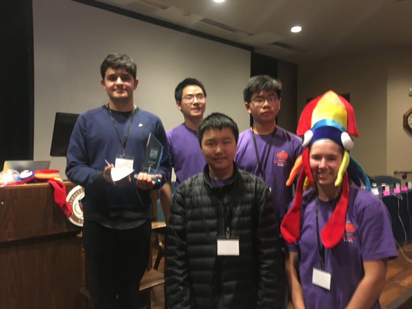 The CCA team will now move onto the 2020 National Ocean Sciences Bowl in Gulf Port, Mississippi. The team includes (back row) captain Alex Shahla, Andrew Zhang and Gavin Budikentjana. Front row: Richard Chen and Ella Crotty.