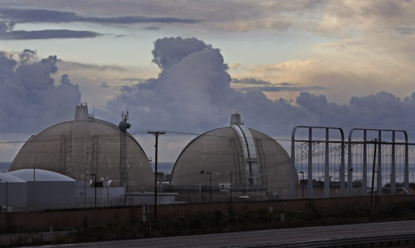 The twin domes of the San Onofre nuclear plant sit on the coast south of San Clemente. The plant permanently closed in 2013 because of design flaws with replacement steam generators.