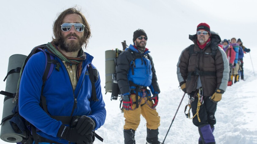 """Everest,"" which follows a tragic 1996 expedition on the world's highest mountain, has a top-flight ensemble cast that includes, from left, Jake Gyllenhaal, Michael Kelly and Josh Brolin."
