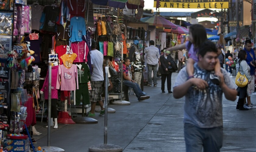 Storefronts in downtown Los Angeles. A new study suggests Angelenos have less access to retirement plans because many workers are employed by small businesses.