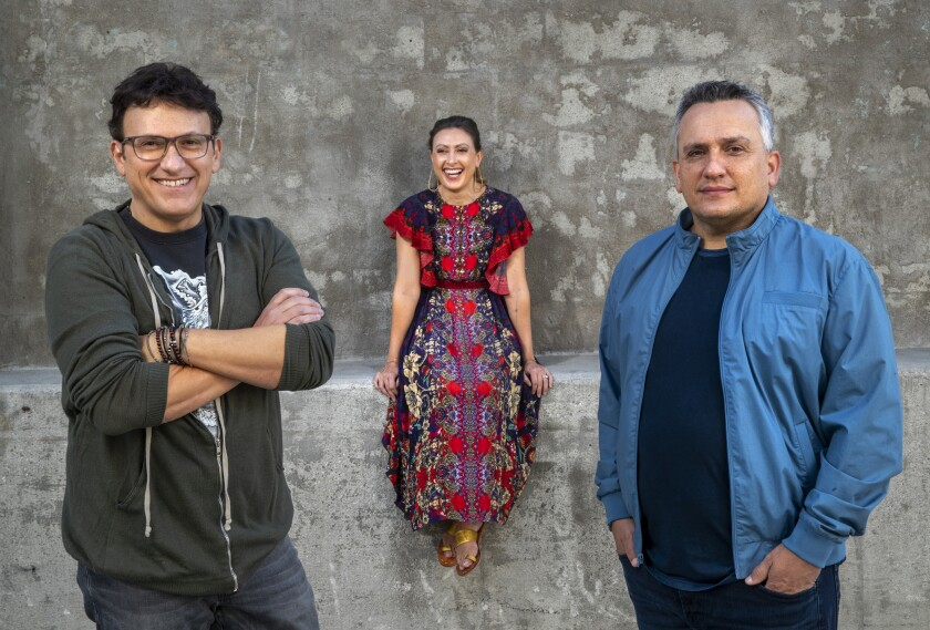"""From left, Anthony Russo, Angela Russo-Otstot and brother Joe Russo, the filmmakers behind """"Cherry."""""""