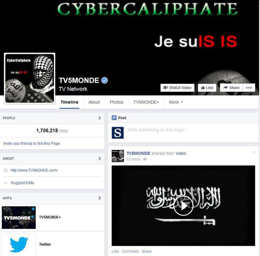 This screenshot provided by TV5 Monde on Thursday shows its Facebook page hacked by people claiming allegiance to Islamic State militants.