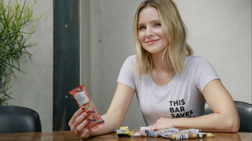 Kristen Bell and her new snack bar, called This Bar Saves Lives.