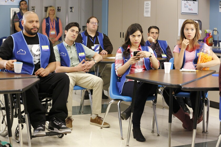 """Colton Dunn, from left, Ben Feldman, America Ferrera and Nichole Bloom star in the comedy """"Superstore."""""""