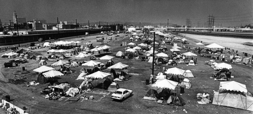 """Sep. 24, 1987: The """"urban campground"""" as seen from the 4th Street bridge, the day before it was shut down."""
