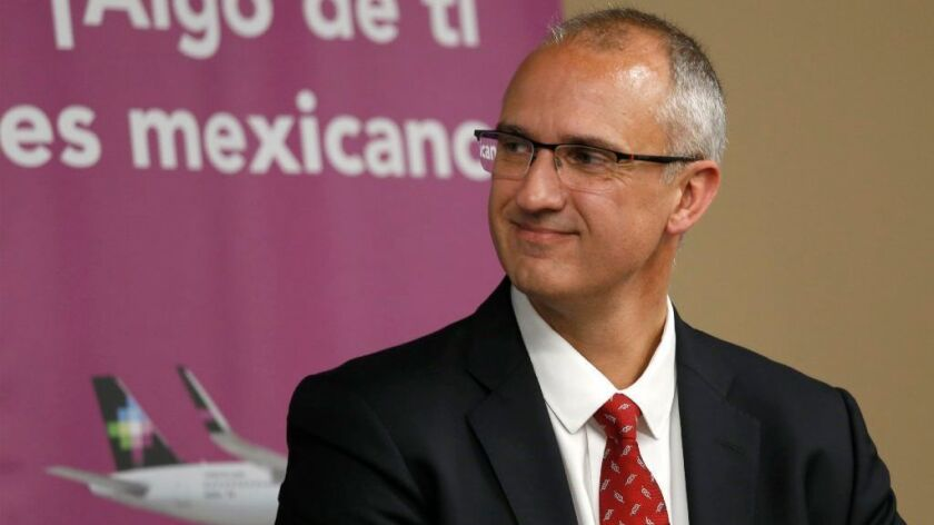 Volaris Chief Operating Officer José Luis Suárez Durán attended a July news conference at LAX to ann