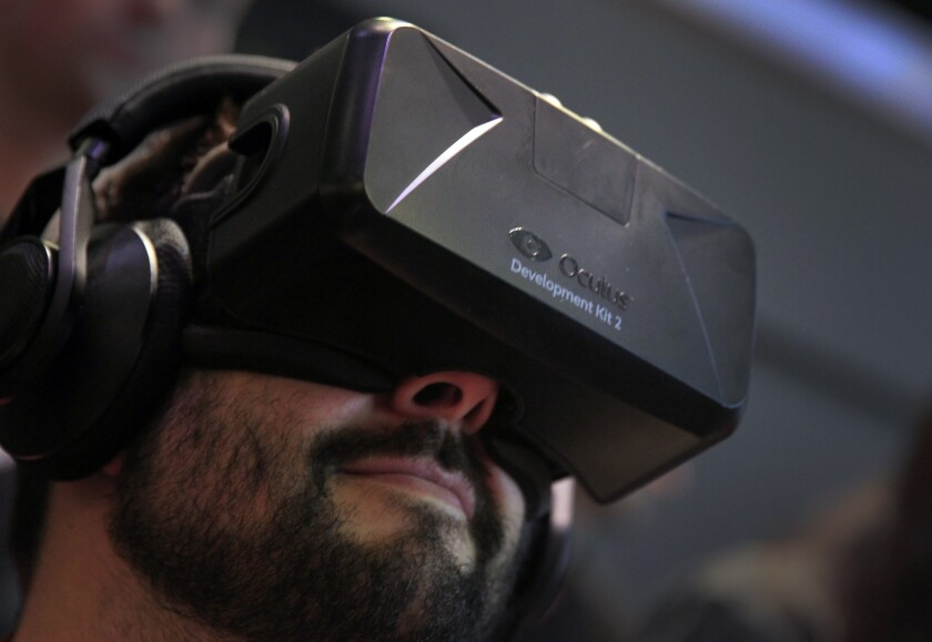 Jaunt's content is meant to work on all platforms, including headsets such as the upcoming Oculus Rift, seen here at the E3 trade show at the Los Angeles Convention Center on June 10, 2014.