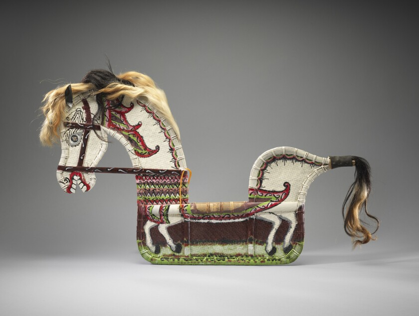 Horse for a spirit-possession dance of the Javanese peoples, Wonosobo, Indonesia, late 20th century — part of an exhibition of art by Austronesian peoples at the Fowler Museum.