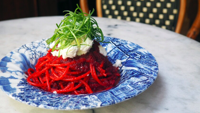 A bowl of beet pasta from Cento pasta bar in downtown L.A.