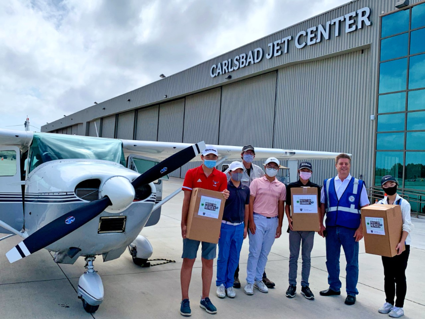 600 face shields were donated to California Disaster Airlift Response Team. (L-R): Spender Zhang, Phoenix Kim, Pilot JohnSawatzky, Johnavon Kim, Jacob Zhang, Ron Lovick (executive director of CalDART), Laura Zhou.