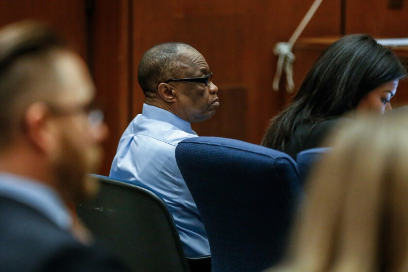 Lonnie Franklin Jr. appears in Los Angeles Superior Court for opening statements in his trial on Feb. 16.