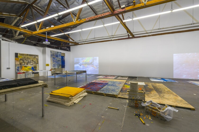 """""""Oscar Murillo: Distribution Center"""" is on view through April 12 at the Mistake Room in Los Angeles."""