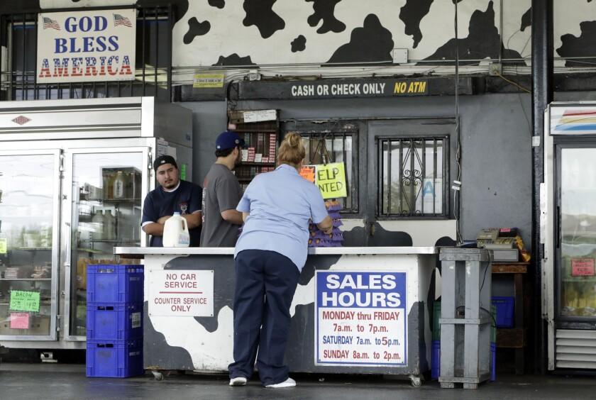 Broguiere's Dairy drive-thru milk stand in Montebello