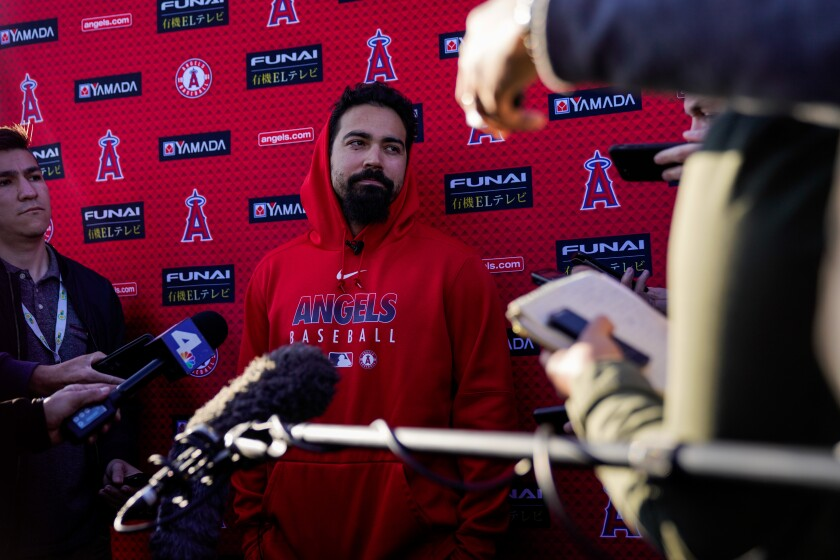 Angels third baseman Anthony Rendon speaks with reporters at Tempe Diablo Stadium on Feb. 17.
