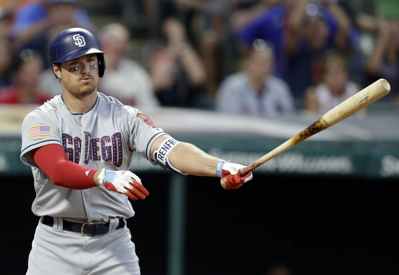 San Diego Padres' Hunter Renfroe reacts after striking out against Cleveland Indians starting pitcher Corey Kluber in the sixth inning of a baseball game, Tuesday, July 4, 2017, in Cleveland. (AP Photo/Tony Dejak)
