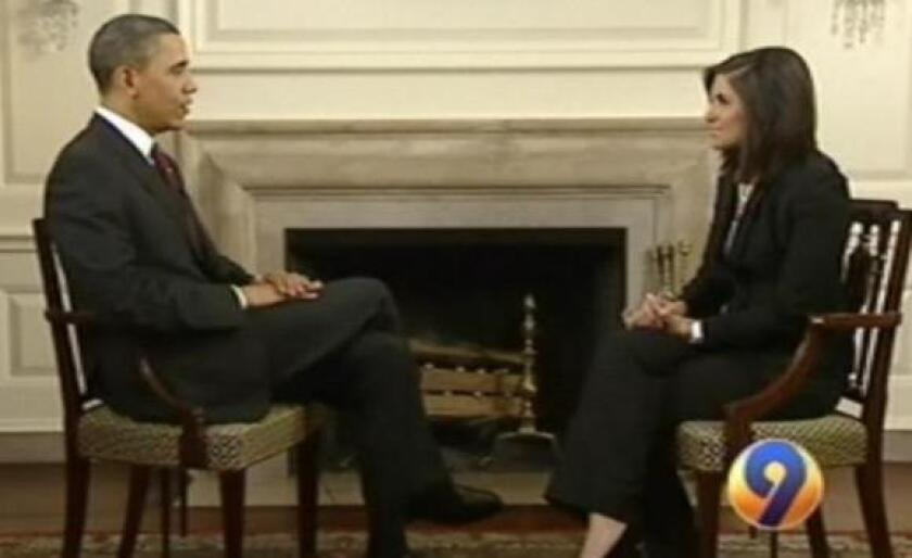 President Obama is interviewed by WSOC-TV anchor Natalie Pasquarella in March.
