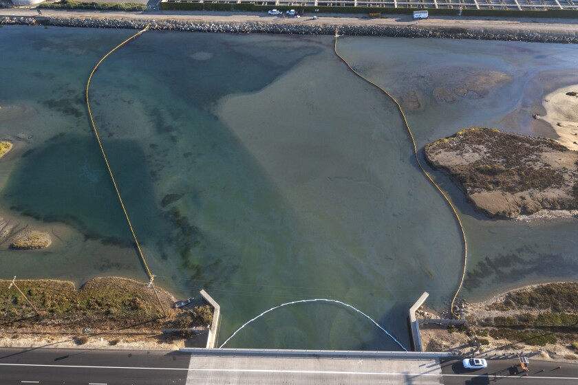 An aerial view of oil in the Talbert Channel.