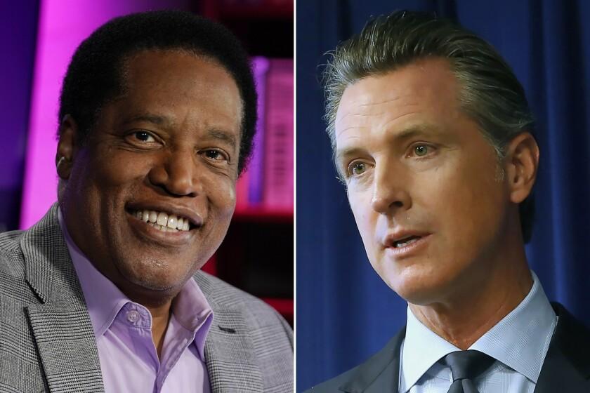 Radio talk show host Larry Elder, left, and Democratic Gov. Gavin Newsom, right.