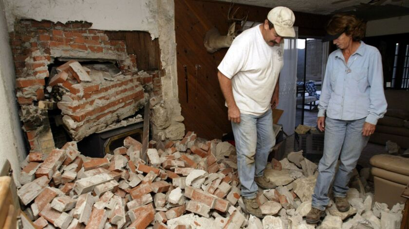 A collapsed brick fireplace in the aftermath of a magnitude 6 quake in 2004 in Parkfield, Calif.