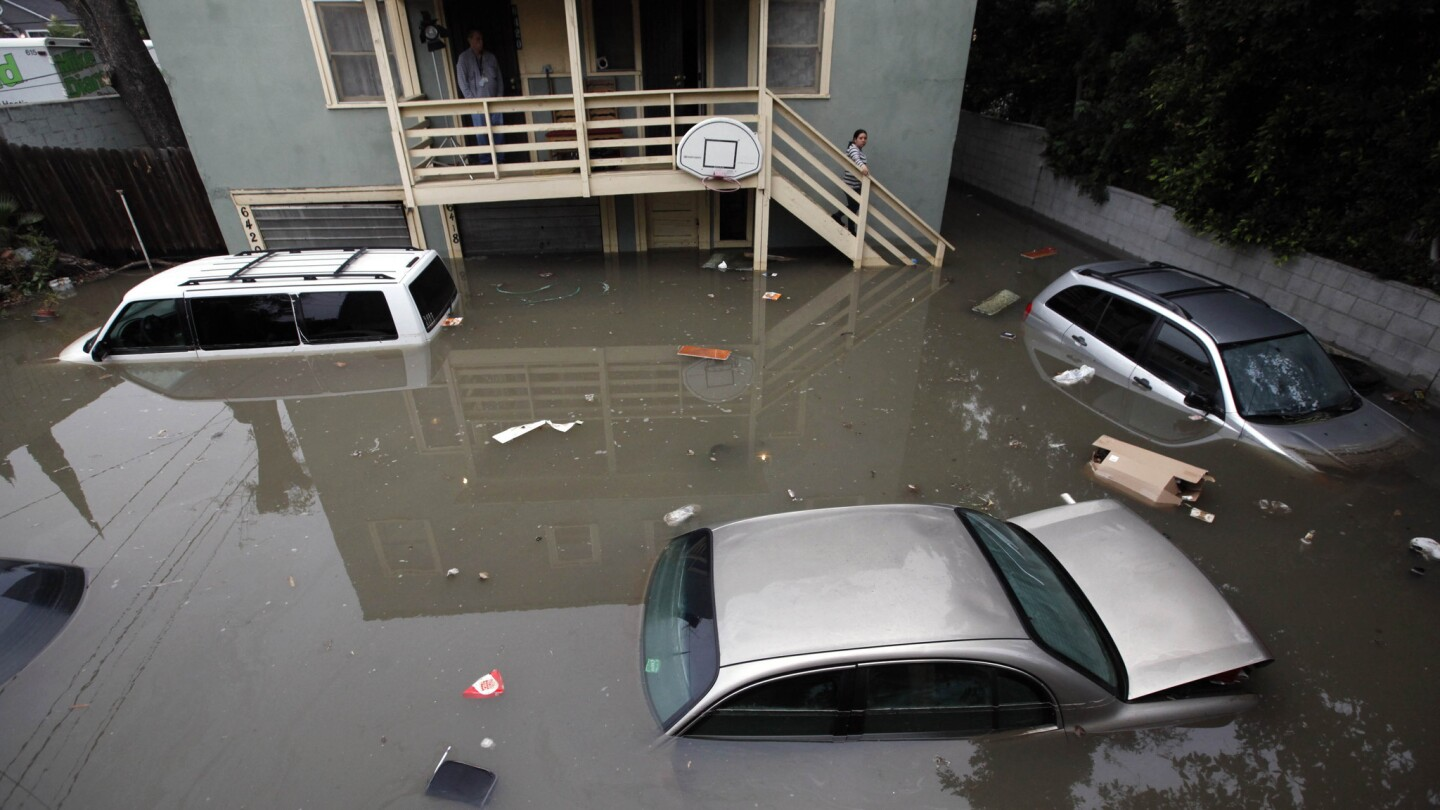A resident looks out at submerged cars in her parking space at 6417 Franklin Ave. after a water main broke during the night of Feb. 17-18.