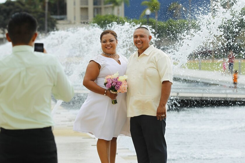 Waterfront Park is a perfect place for a wedding. But what about political protest? [U-T file]