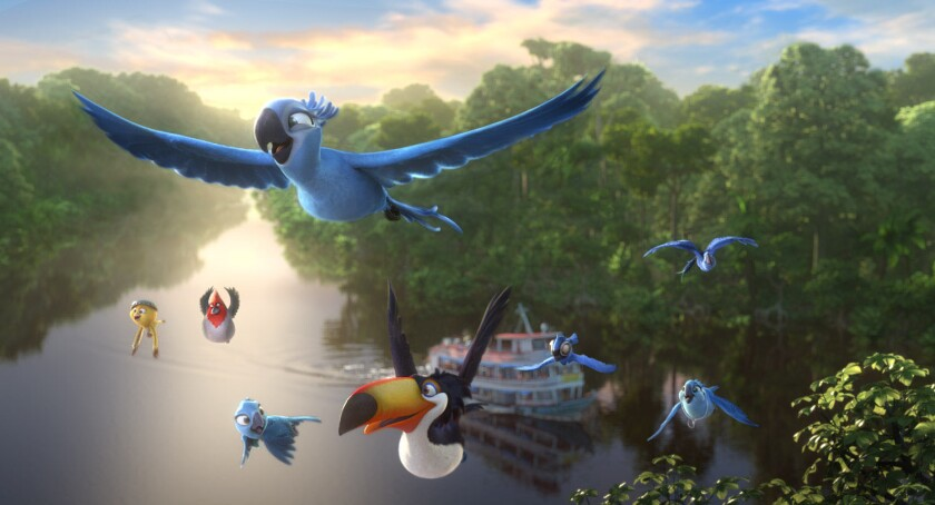 """A scene from """"Rio 2,"""" which takes on """"Captain America: The Winter Soldier"""" at the box office this weekend."""