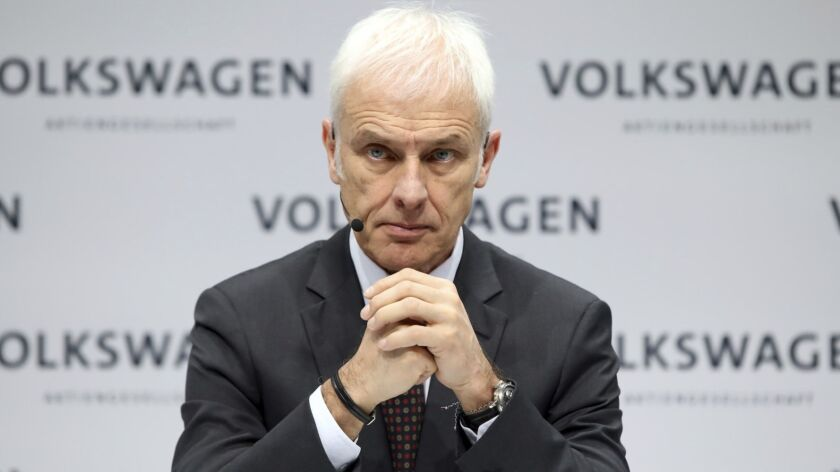 FILE - In this March 13 2018 file photo Volkswagen CEO Matthias Mueller, attends the annual press co