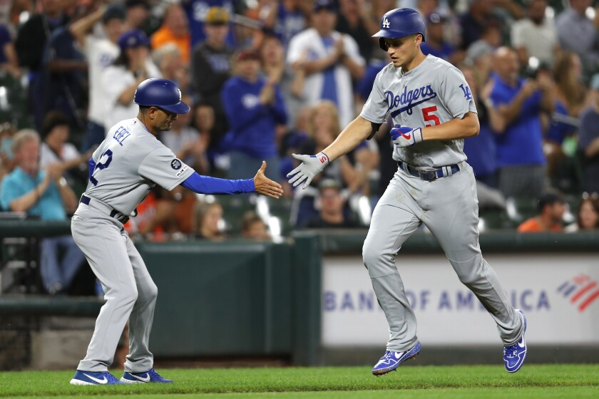 Dodgers' Corey Seager (5) rounds the bases after hitting a two-run home run against the Baltimore Orioles during the third inning on Tuesday in Baltimore.